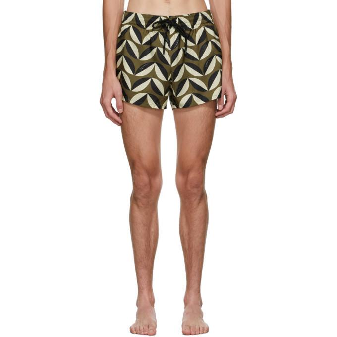 Photo: COMMAS Green and Beige Pavilion Tile Short Length Swim Shorts