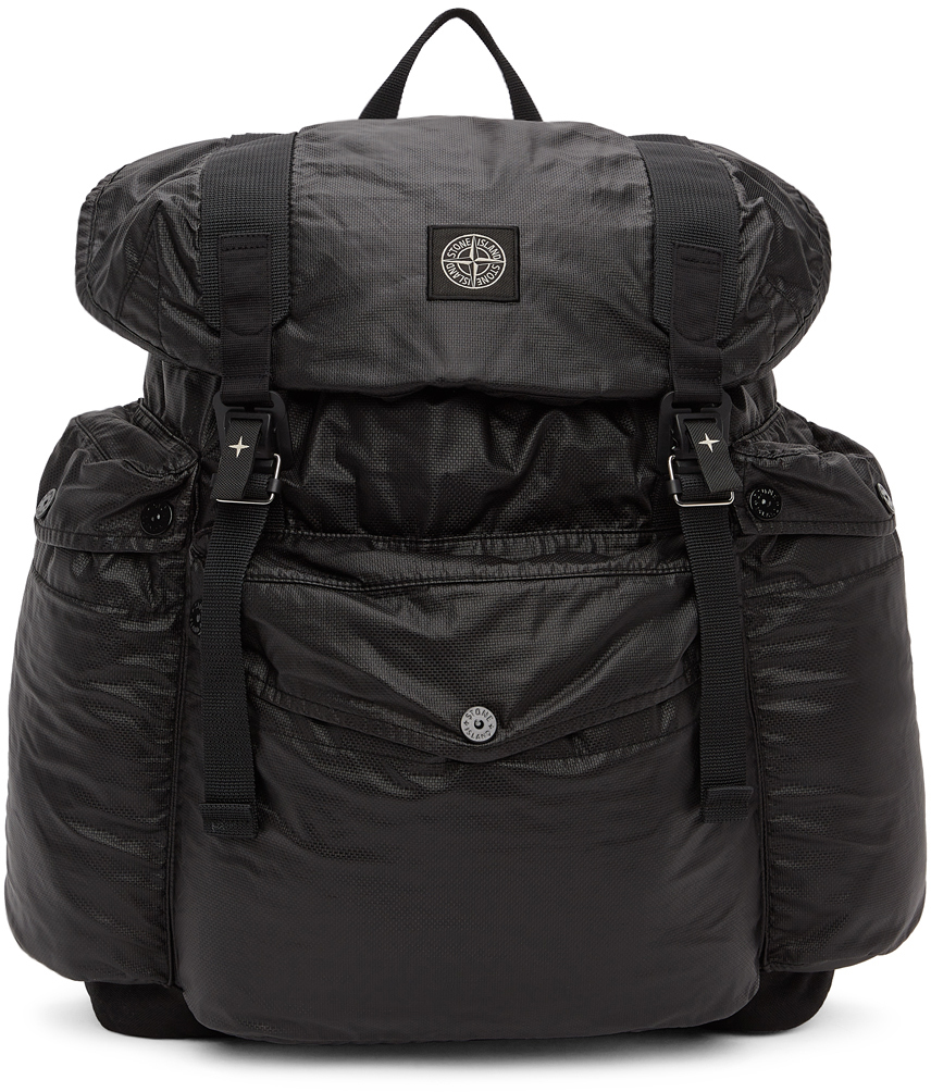 Photo: Stone Island Black Mussola Gommata Canvas Backpack