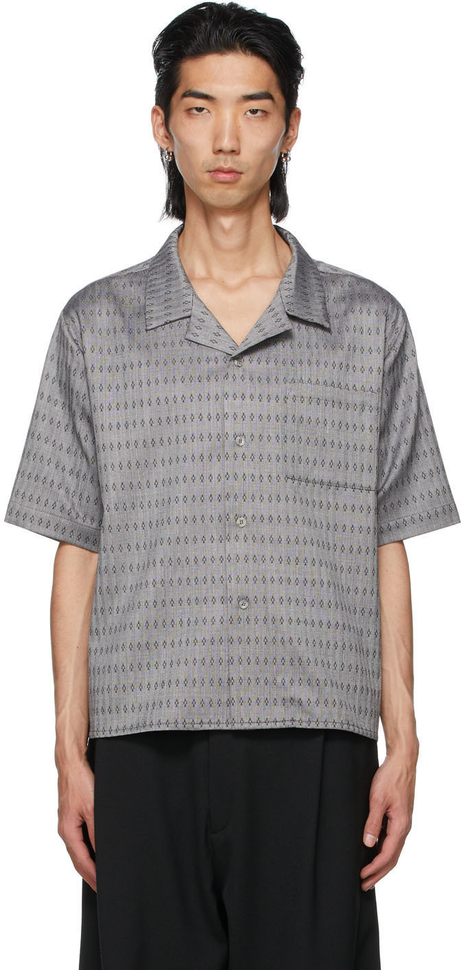 Photo: GmbH Grey Wool Jacquard Luka Short Sleeve Shirt