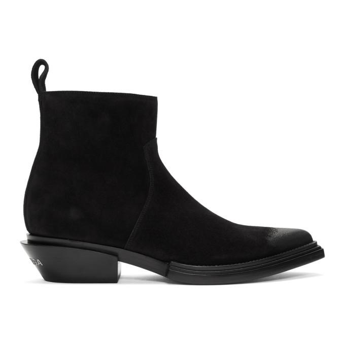 Photo: Balenciaga Black Suede Santiag Boots
