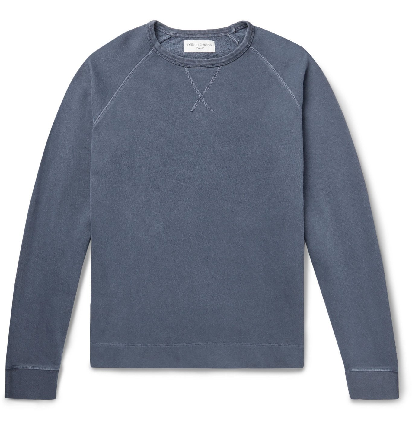 Photo: Officine Generale - Camille Garment-Dyed Fleece-Back Cotton-Jersey Sweatshirt - Blue