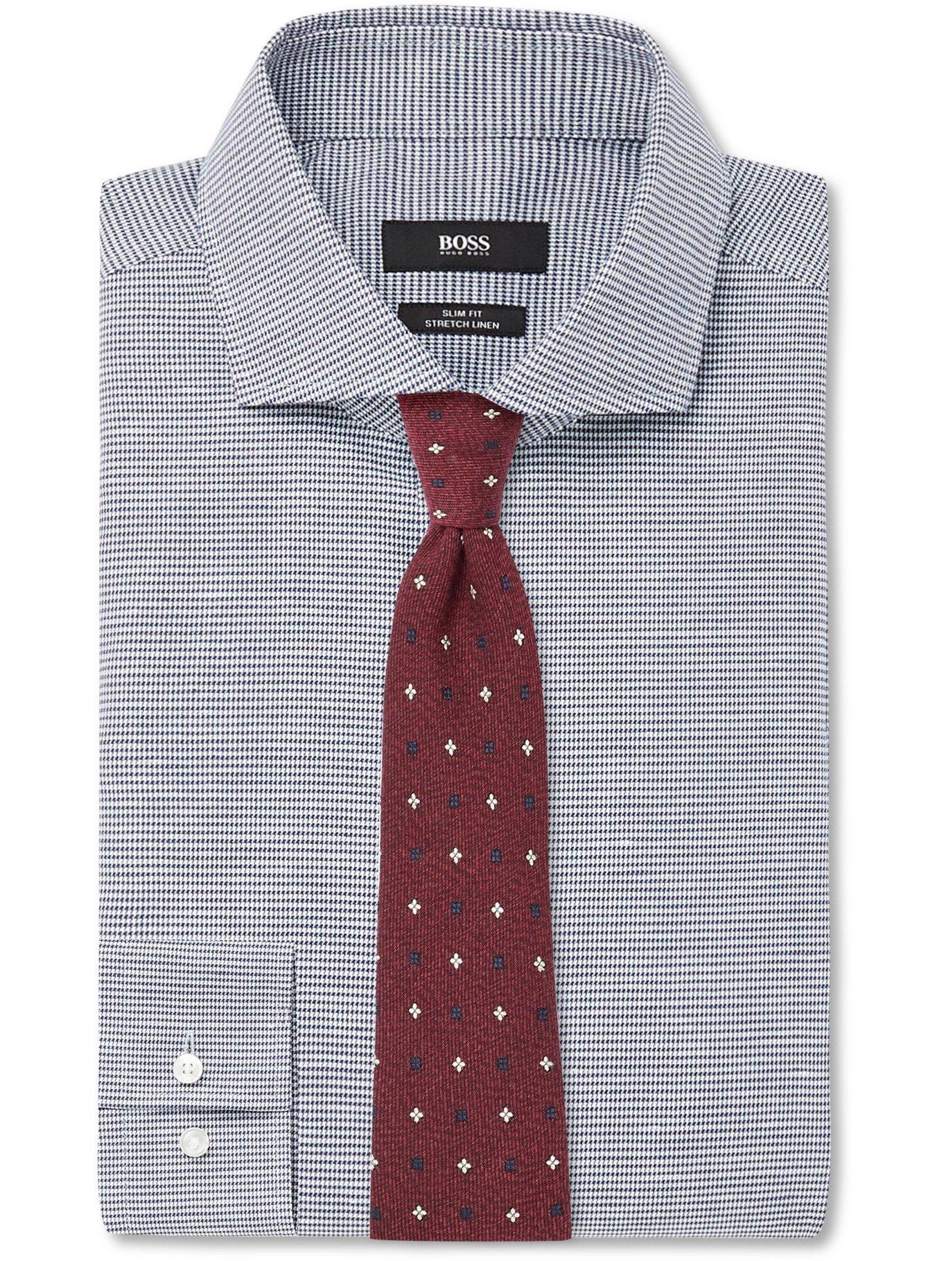 HUGO BOSS - Slim-Fit Cutaway-Collar Puppytooth Cotton-Blend Shirt - Blue