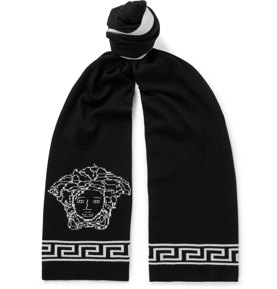 Photo: Versace - Logo-Intarsia Wool and Silk-Blend Scarf - Men - Black