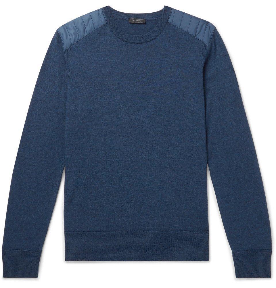 Belstaff - Kerrigan Nylon-Panelled Wool Sweater - Men - Blue