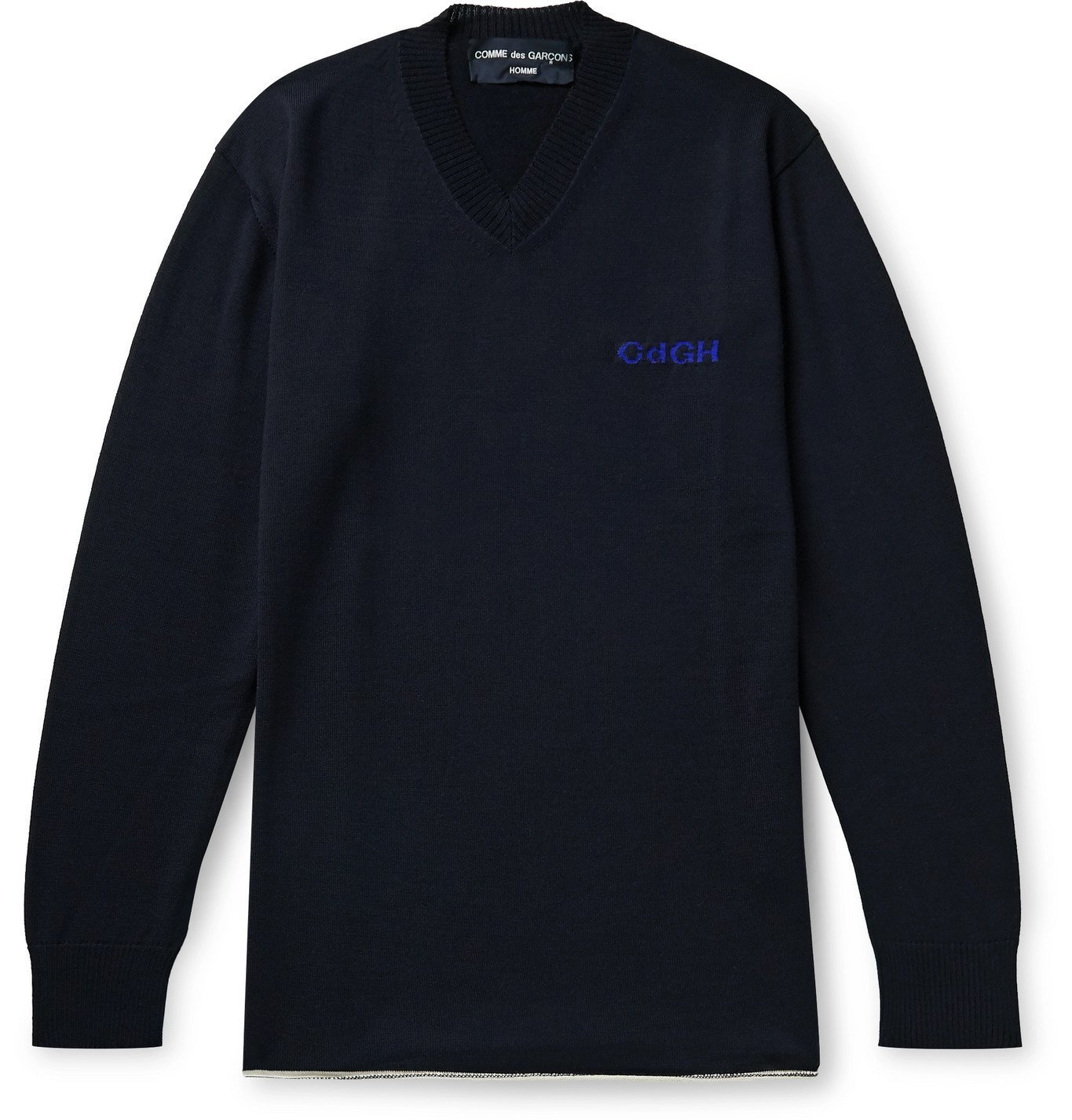 Photo: Comme des Garçons HOMME - Logo-Embroidered Wool and Cotton-Blend Sweater - Blue
