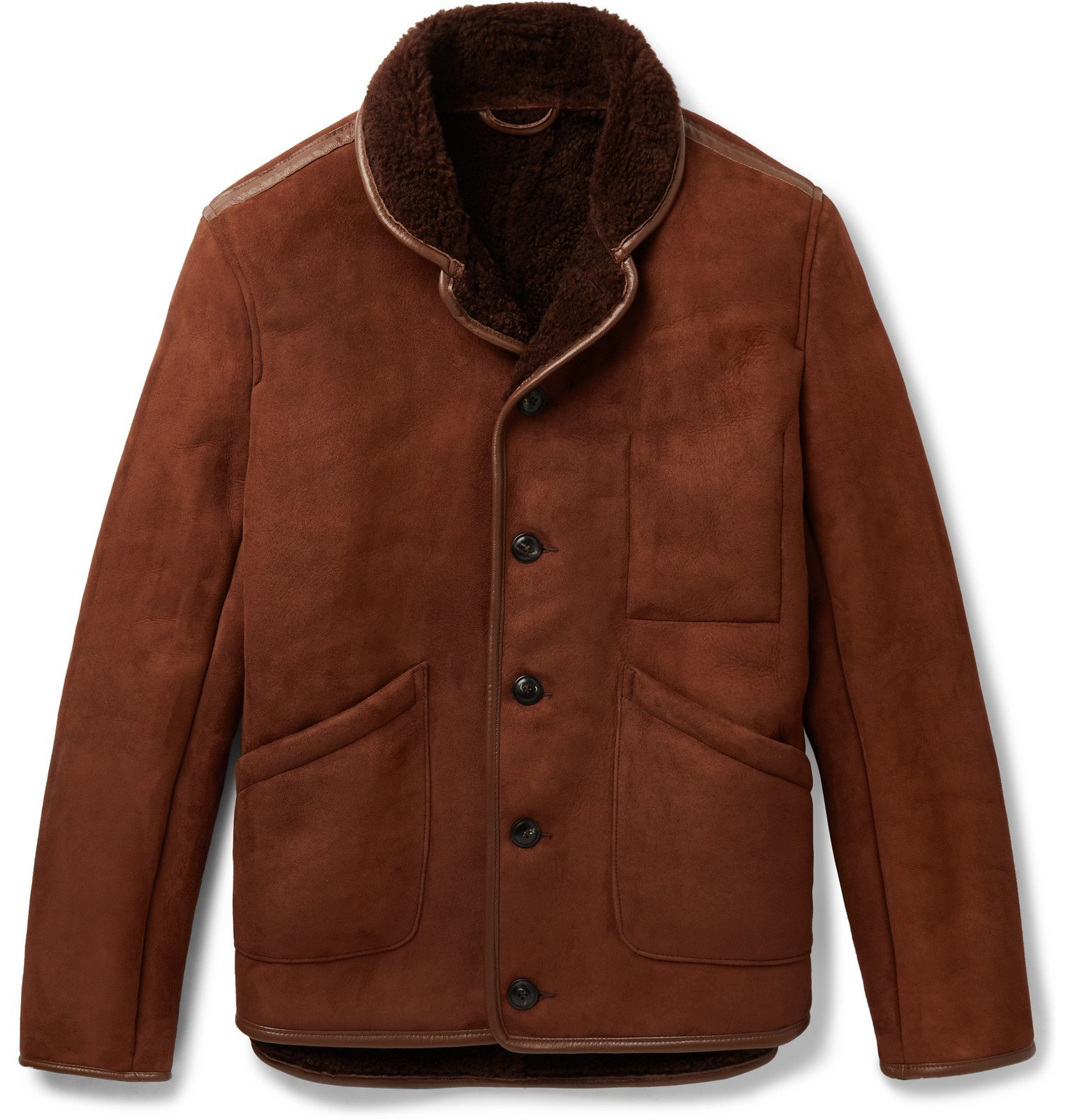 Photo: YMC - Leather-Trimmed Shearling Jacket - Brown
