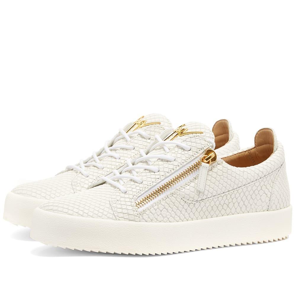 Photo: Giuseppe Zanotti Double Zip Python Leather Low Sneaker White & Gold