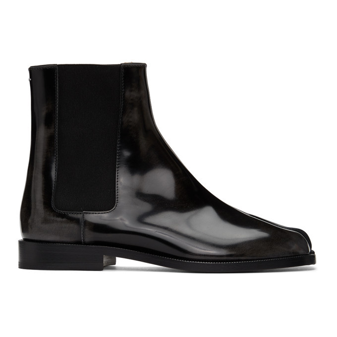 Photo: Maison Margiela Black Patent Tabi Chelsea Boots