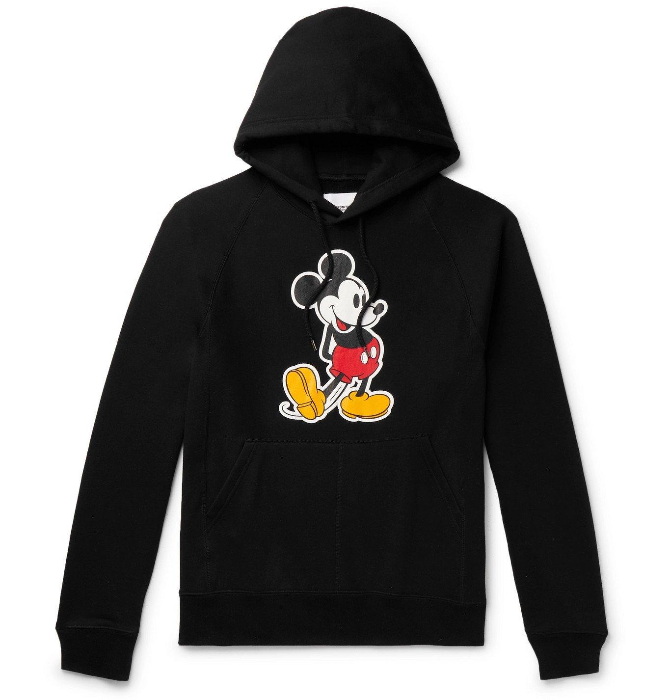 Photo: TAKAHIROMIYASHITA TheSoloist. - Mickey Mouse Printed Loopback Cotton-Jersey Hoodie - Black