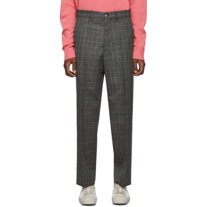 Photo: Marni Black and Grey Micro-Check Trousers