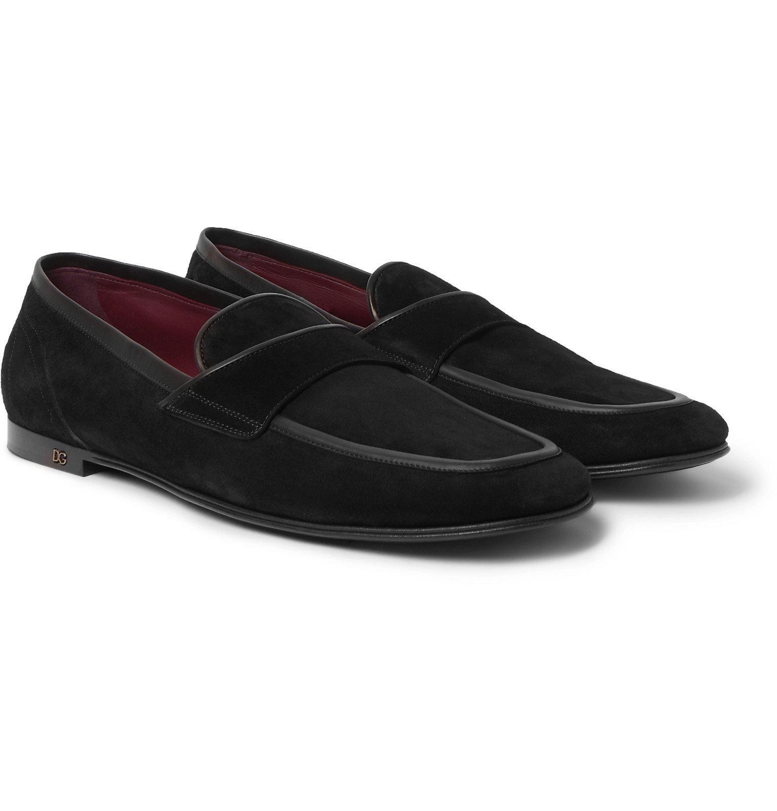 Photo: Dolce & Gabbana - Leather-Trimmed Suede Penny Loafers - Black