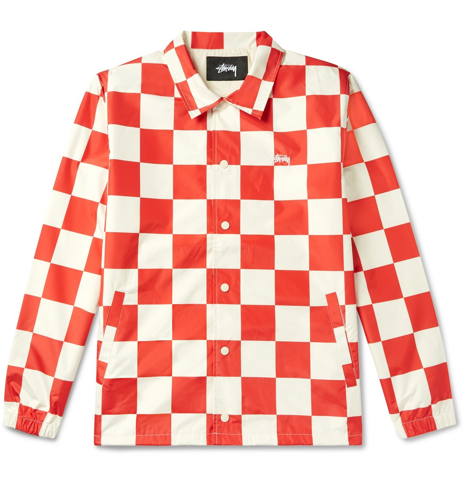 Photo: Stüssy - Checkerboard Shell Coach Jacket - Red