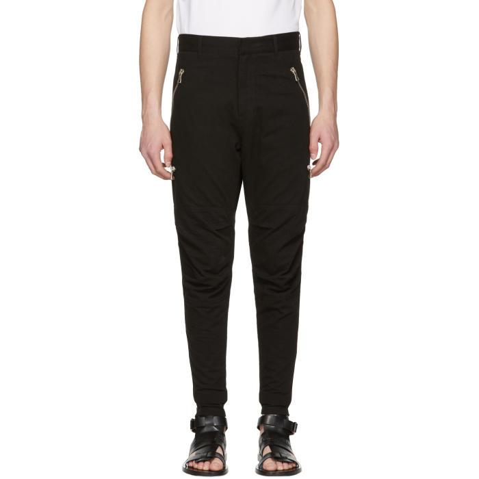 Photo: Balmain Black Multi Zip Trousers