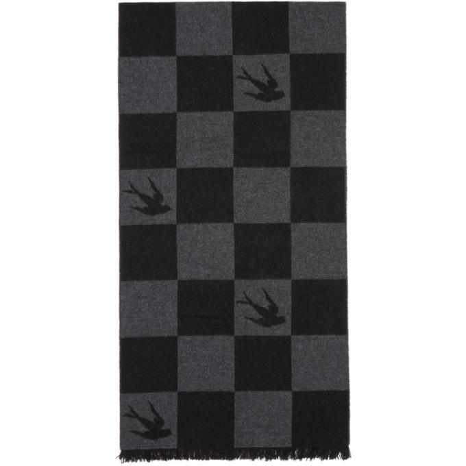 Photo: McQ Alexander McQueen Black Checkerboard Swallow Scarf