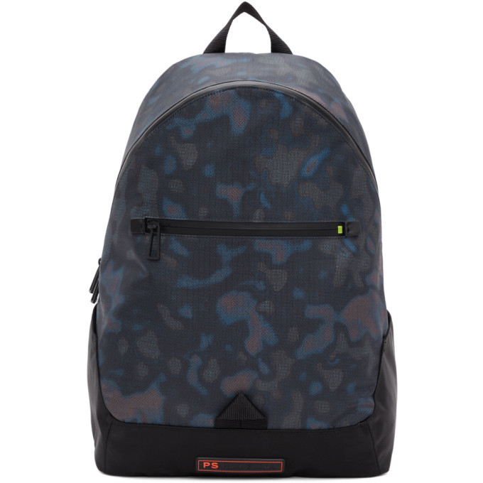 Photo: PS by Paul Smith Black Heat Map Camo Backpack