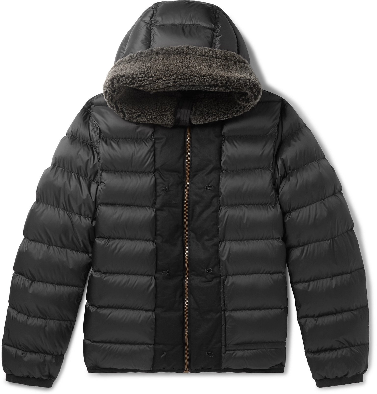 Photo: Ten C - Shearling-Trimmed Quilted Shell Down Liner - Black