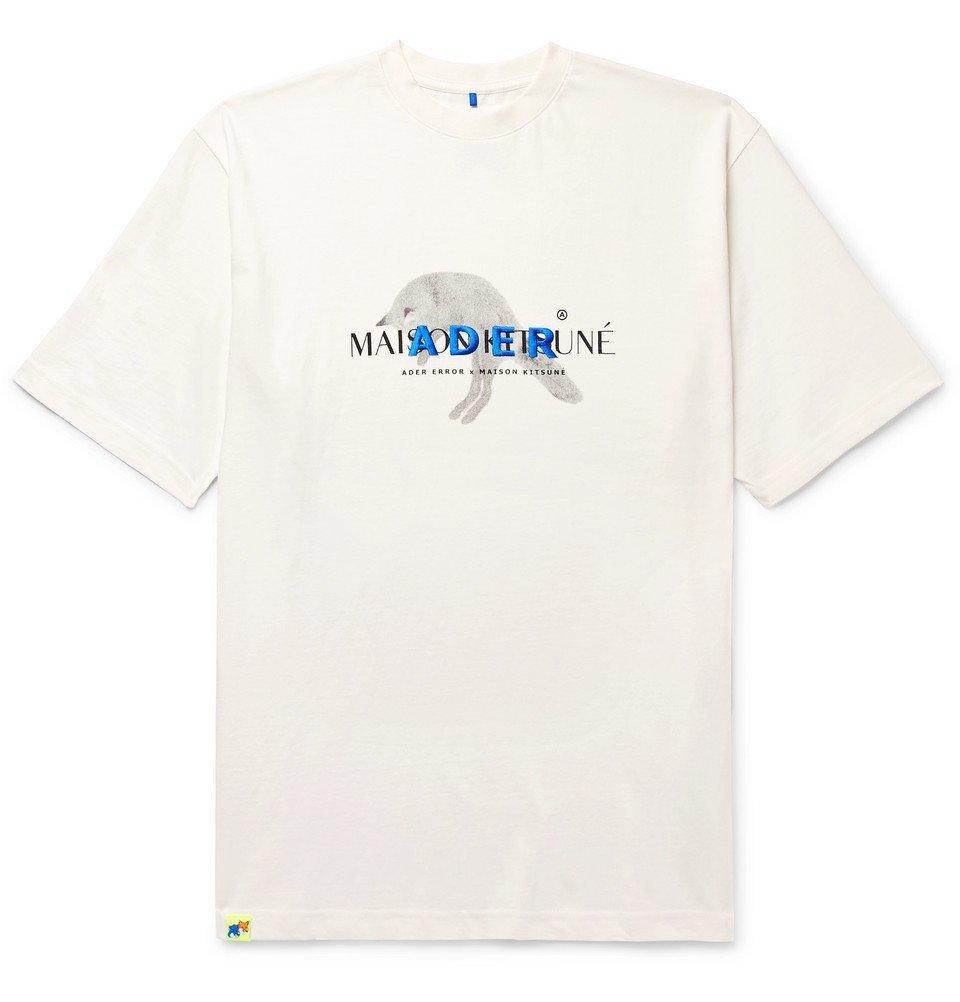 Photo: Maison Kitsuné - ADER error Oversized Logo-Embroidered Printed Cotton-Jersey T-Shirt - White