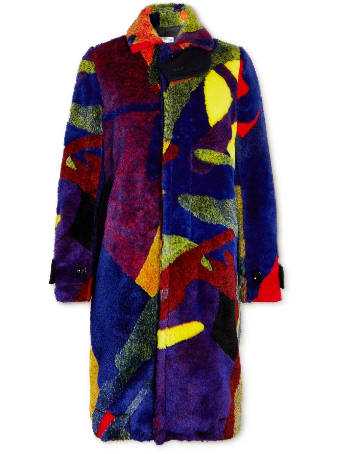 Photo: Sacai - KAWS Faux Fur-Jacquard Coat - Multi