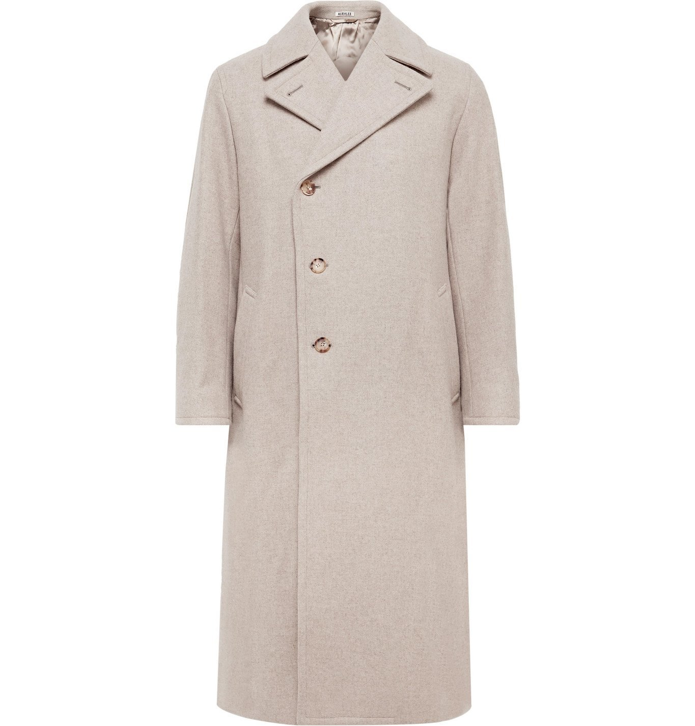 Photo: Auralee - Belted Double-Breasted Mélange Wool Coat - Neutrals