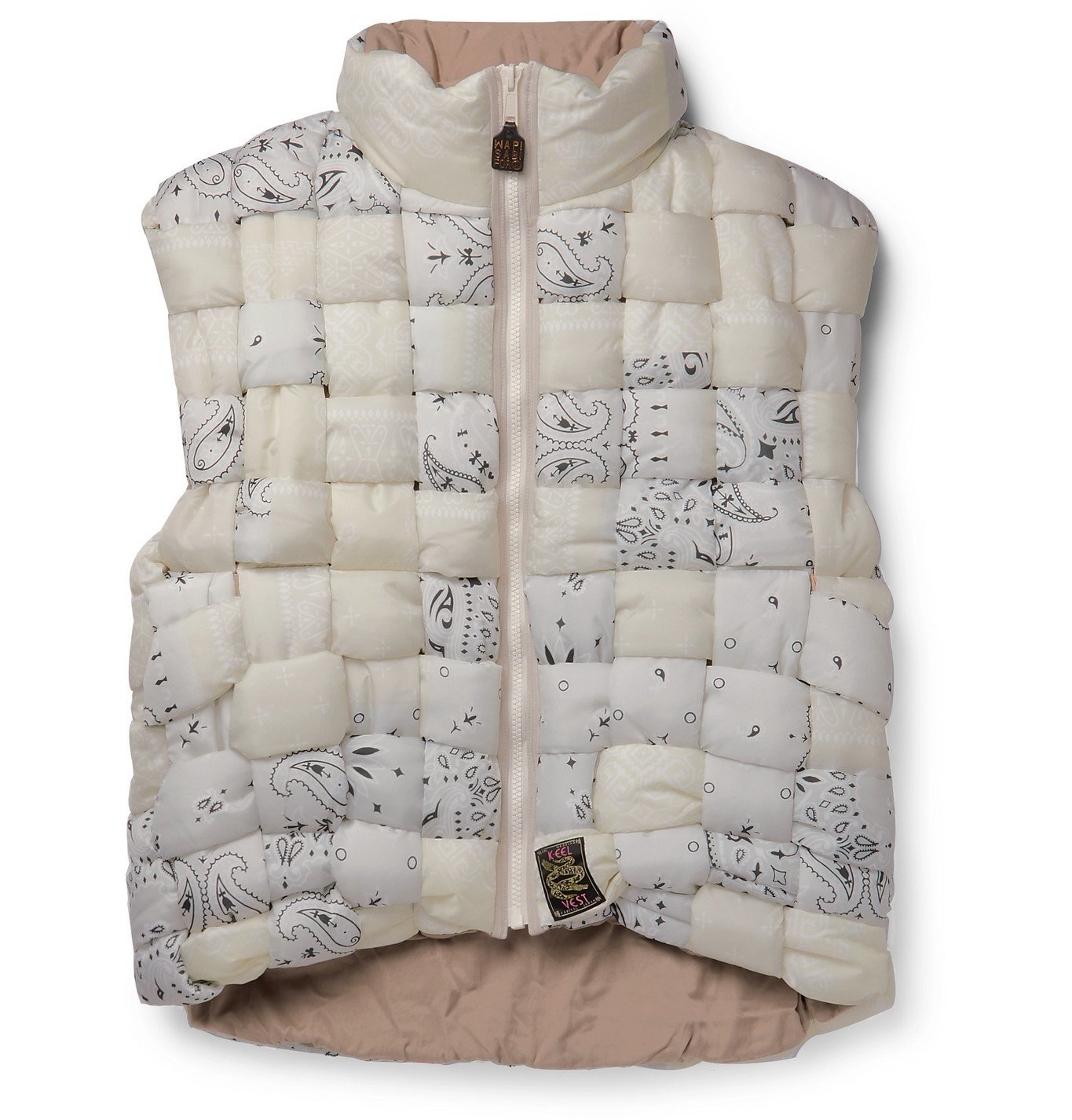 Photo: KAPITAL - Bandana-Print Woven Padded Shell Gilet - Neutrals