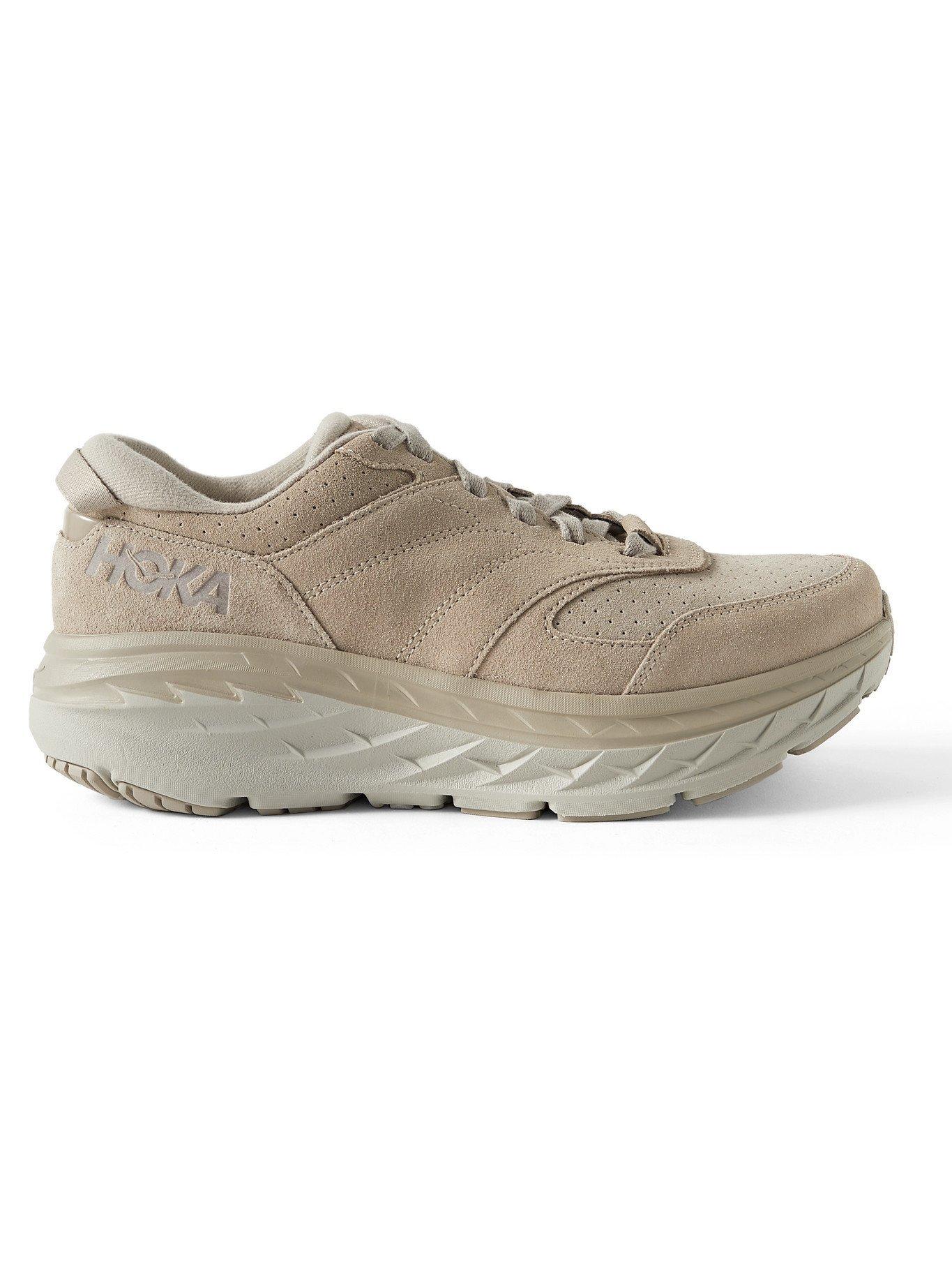 Photo: HOKA ONE ONE - Bondi L Suede Running Sneakers - Brown