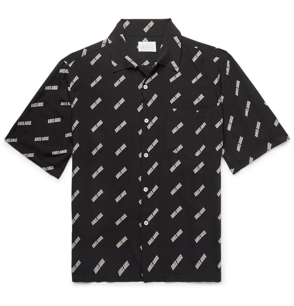 Aries - Camp-Collar Logo-Print Woven Shirt - Men - Black