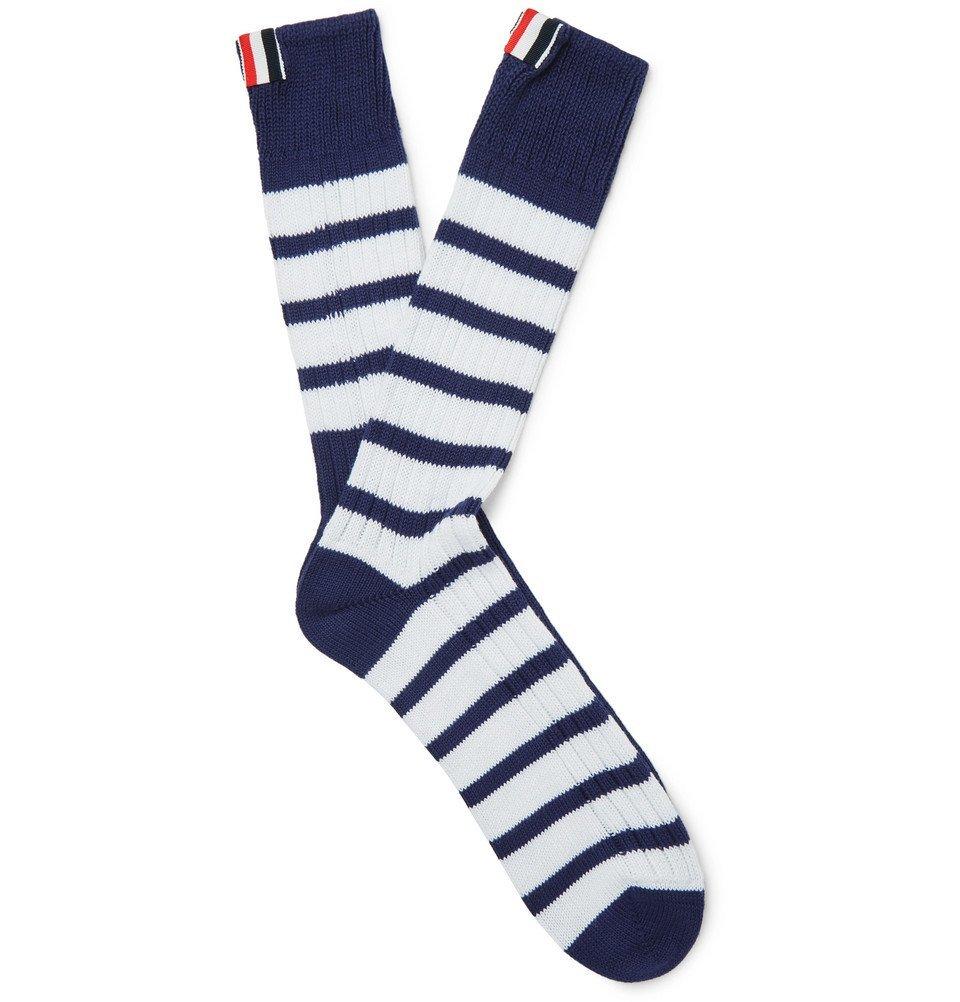 Photo: Thom Browne - Striped Ribbed Cotton Socks - Navy