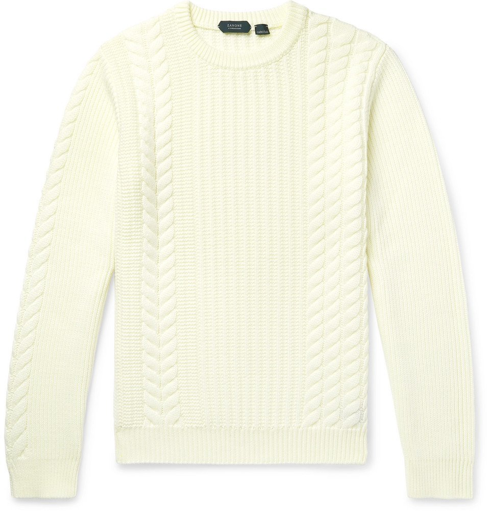 Photo: Incotex - Slim-Fit Cable-Knit Virgin Wool Sweater - Cream