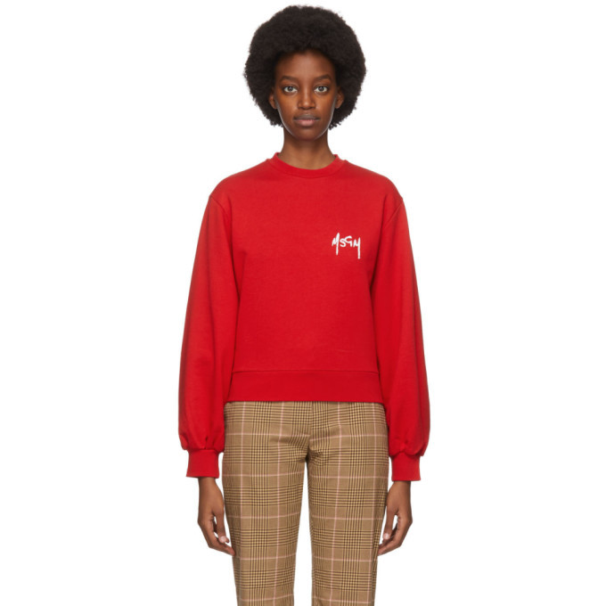 Photo: MSGM Red Embroidered Logo Sweatshirt