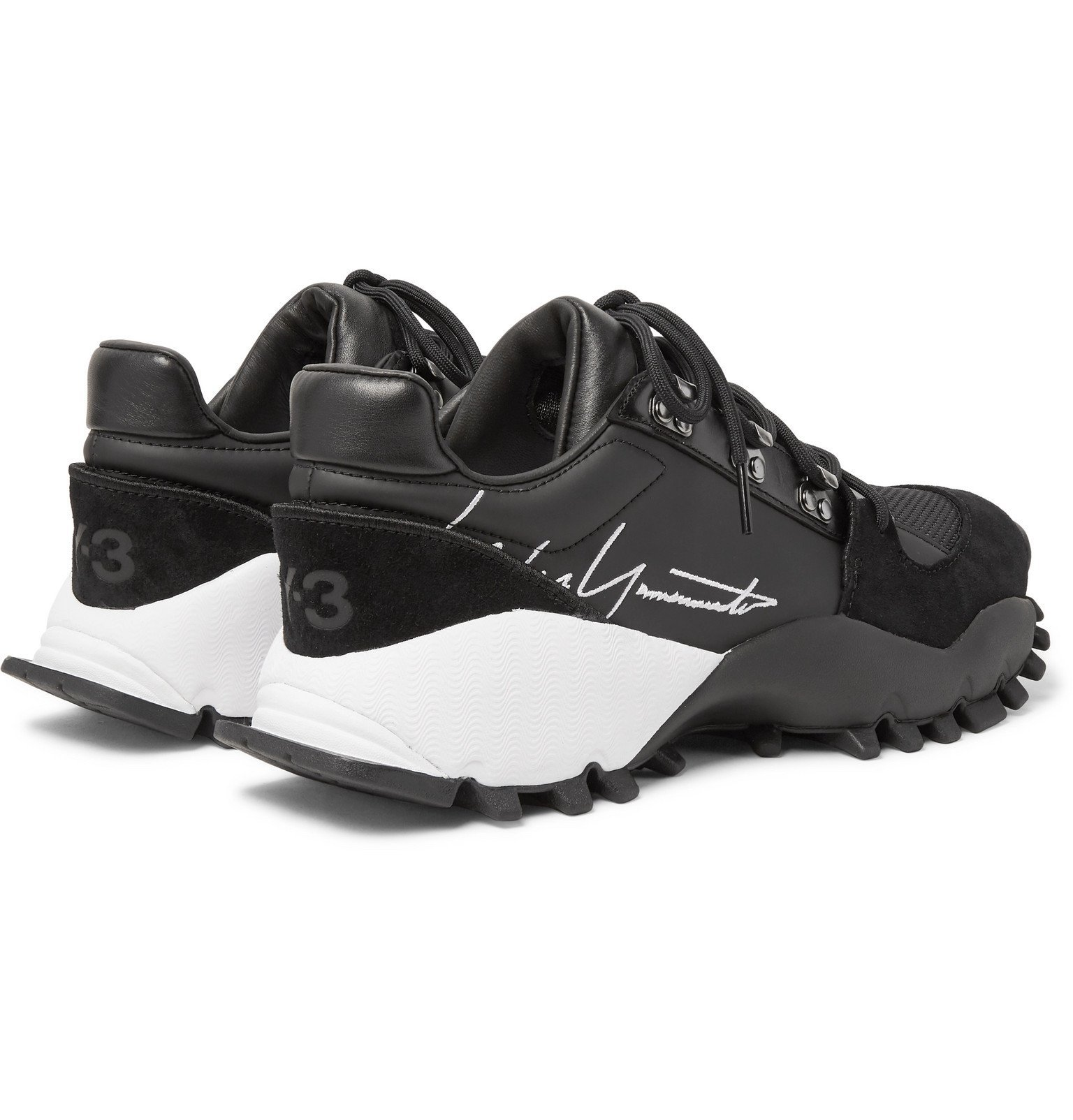 Y-3 - Kyoi Trail Leather, Suede and Mesh Sneakers - Black