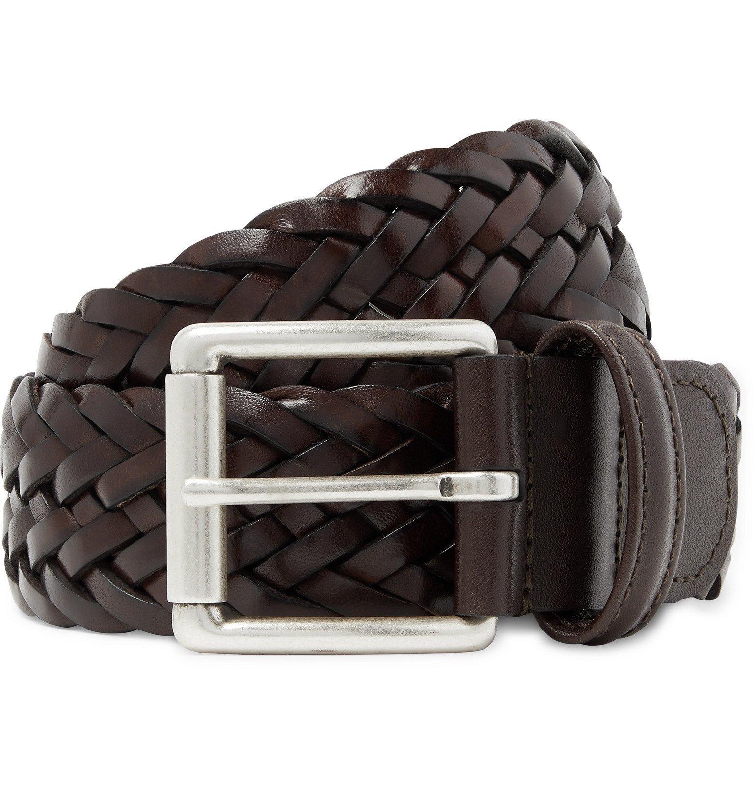 Photo: Anderson's - 4cm Dark-Brown Woven Leather Belt - Brown