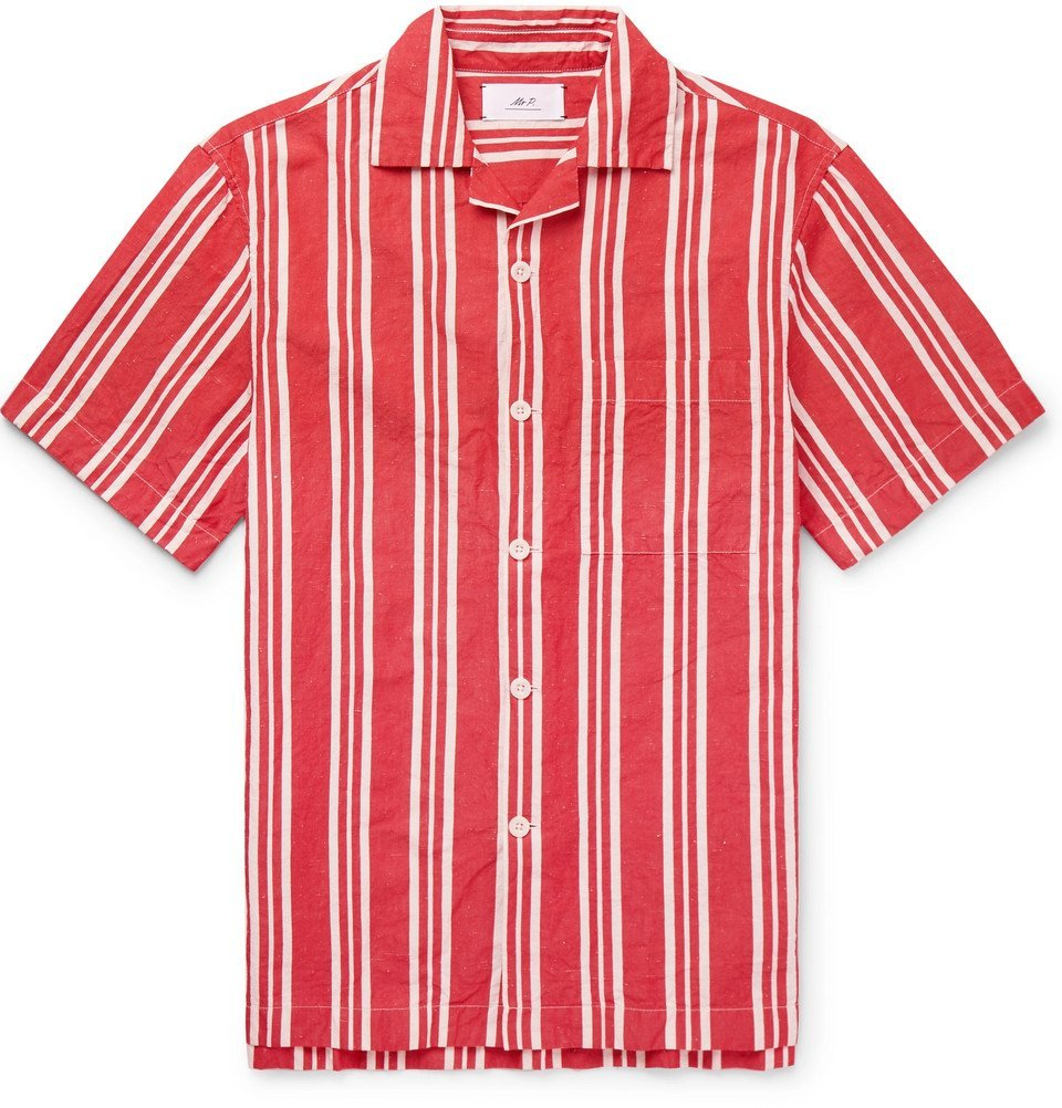 Photo: Mr P. - Camp-Collar Striped Cotton and Linen-Blend Shirt - Red