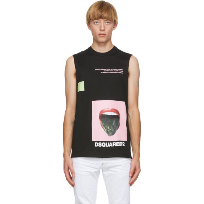 Photo: Dsquared2 Black Pressed Sleeveless T-Shirt