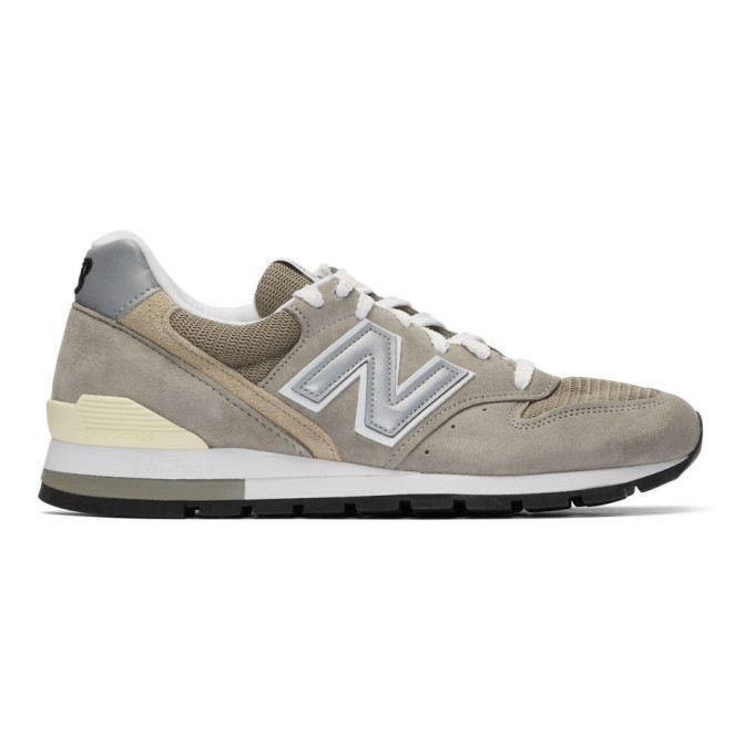 New Balance Grey and Beige Made In US 996 Sneakers