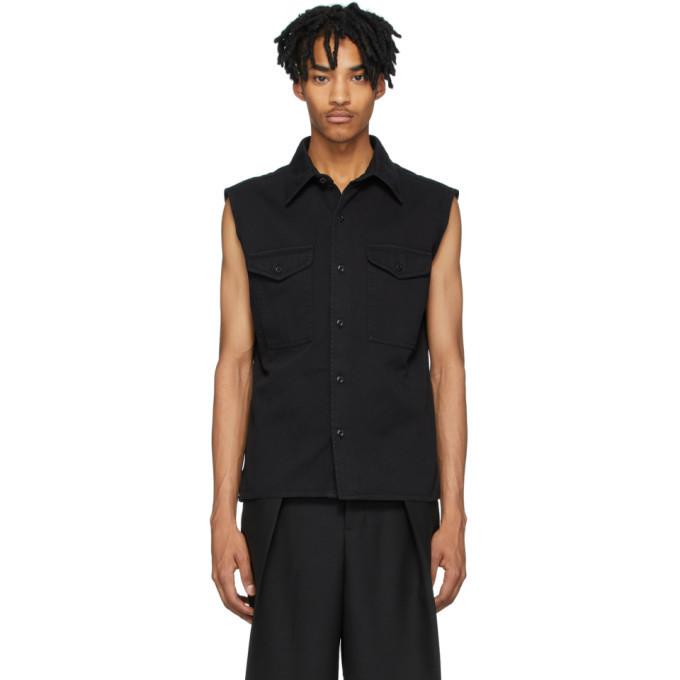 Photo: AMI Alexandre Mattiussi Black Denim Sleeveless Shirt