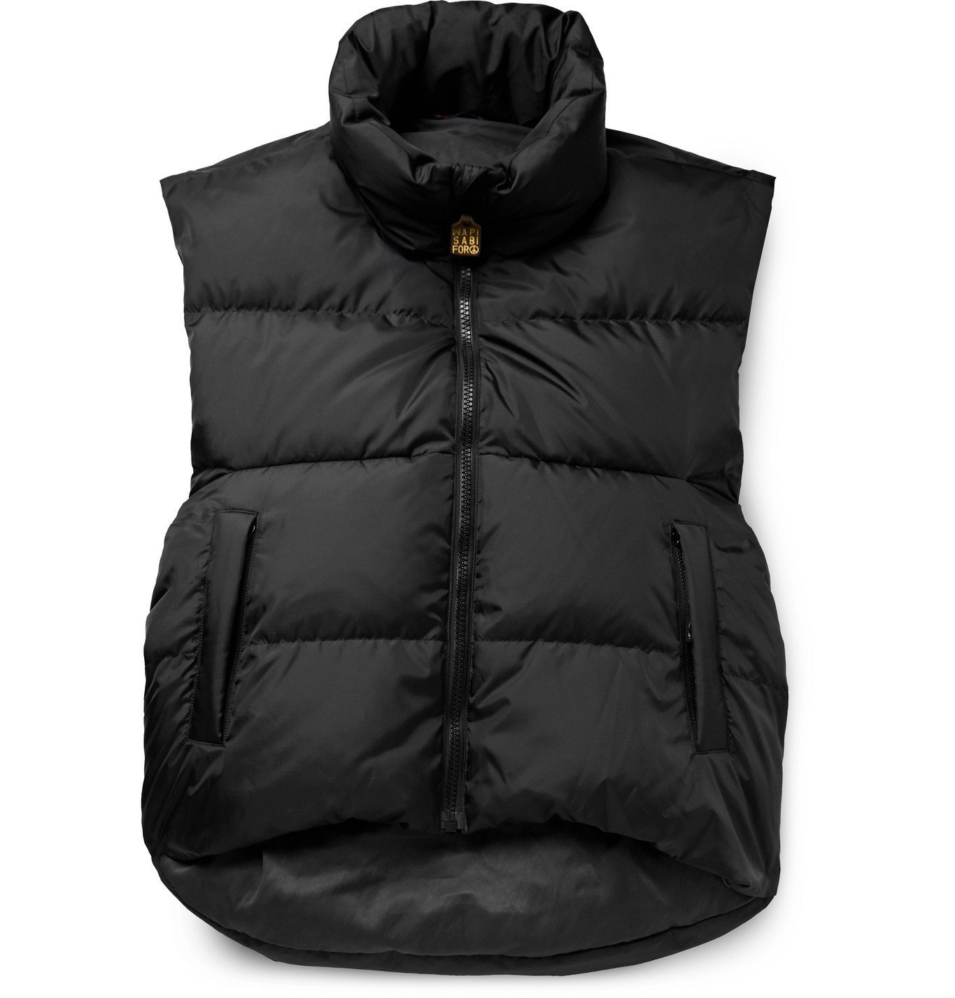 KAPITAL - Burger Keel Oversized Reversible Quilted Ripstop and Shell Down Gilet - Black