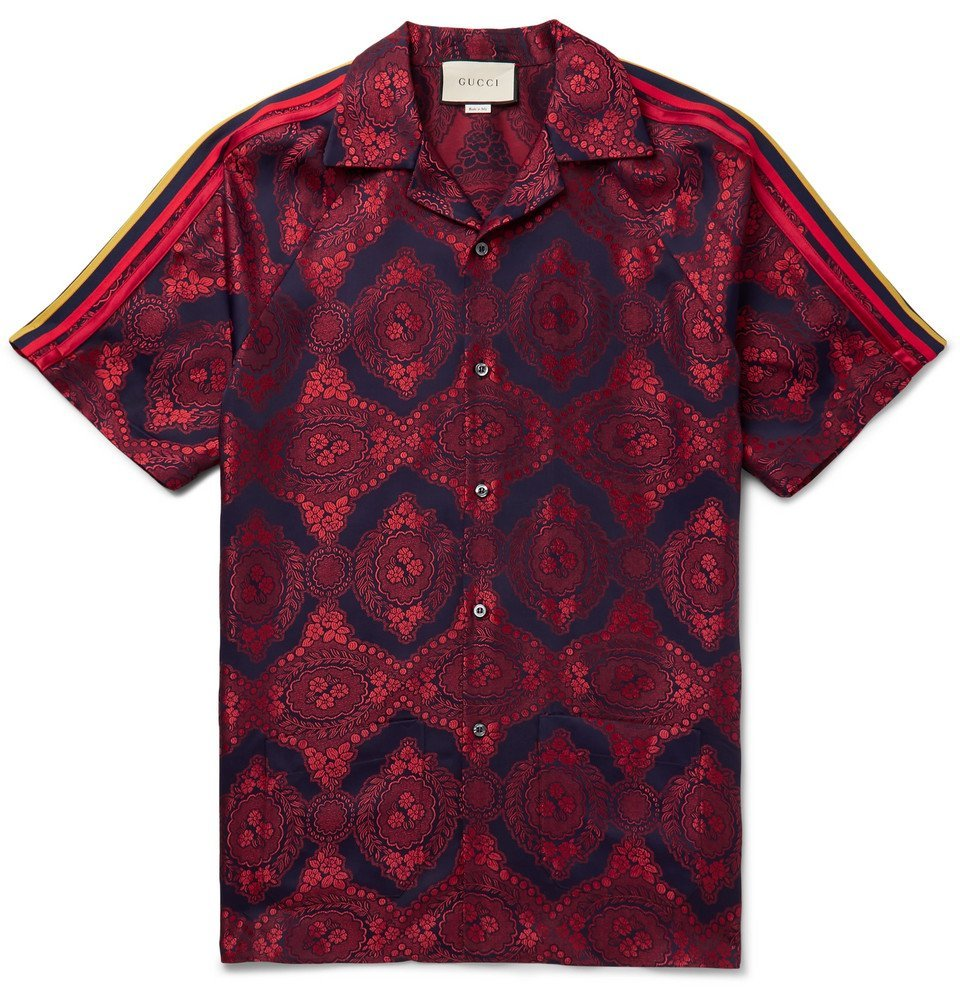 Photo: Gucci - Camp-Collar Webbing-Trimmed Jacquard Shirt - Red