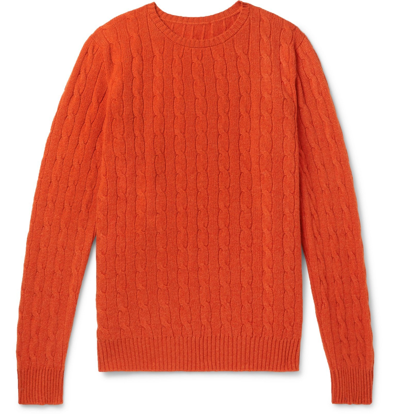 Photo: Anderson & Sheppard - Cable-Knit Cashmere Sweater - Orange