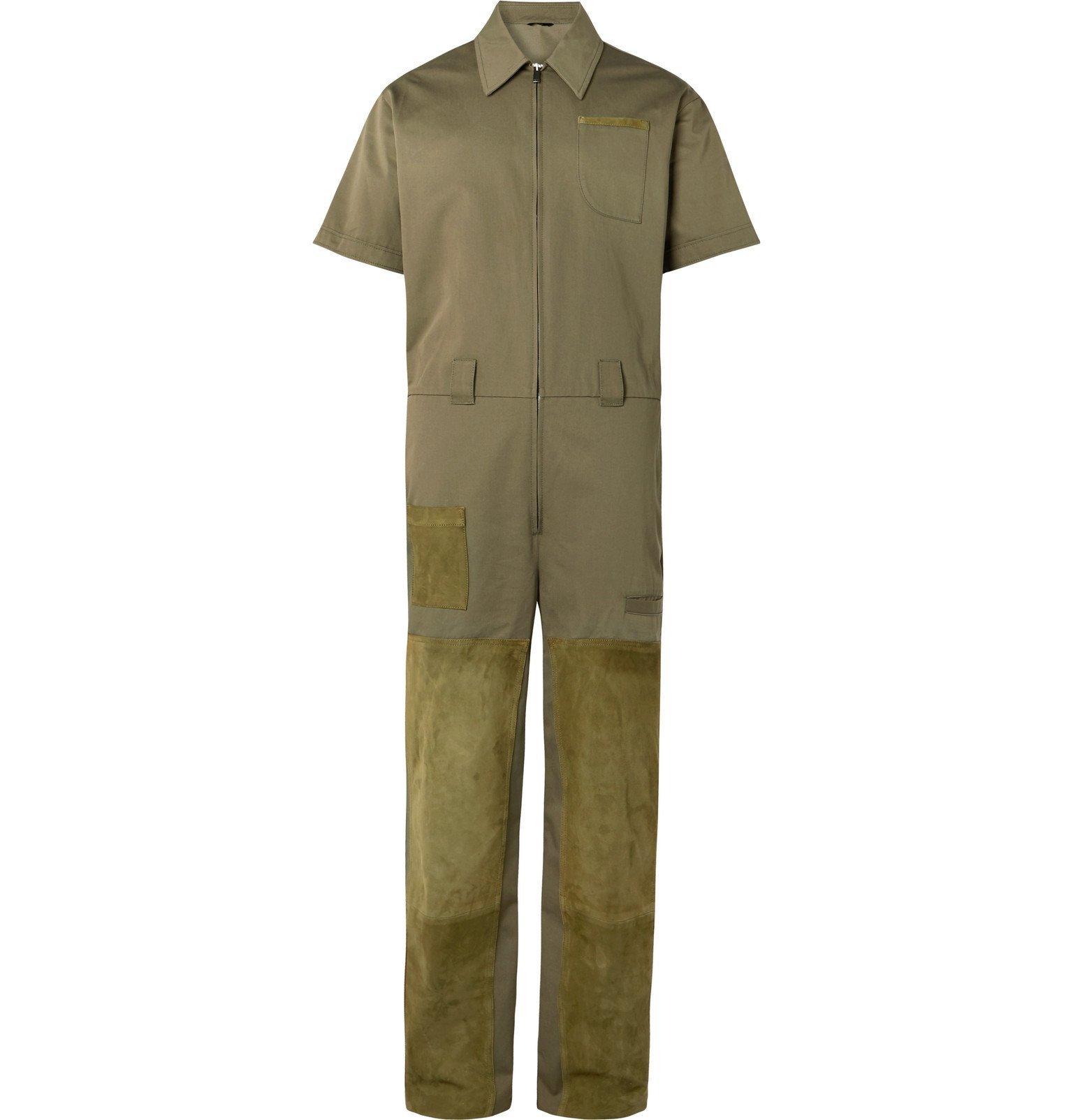 Photo: Fendi - Suede-Panelled Cotton-Gabardine Jumpsuit - Green