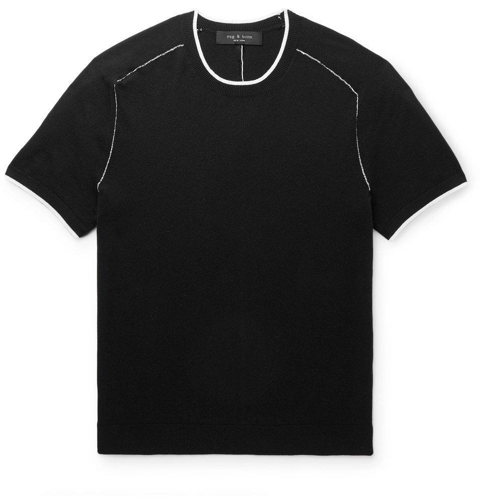 Photo: rag & bone - Evens Contrast-Tipped Cotton, Silk and Cashmere-Blend T-Shirt - Black
