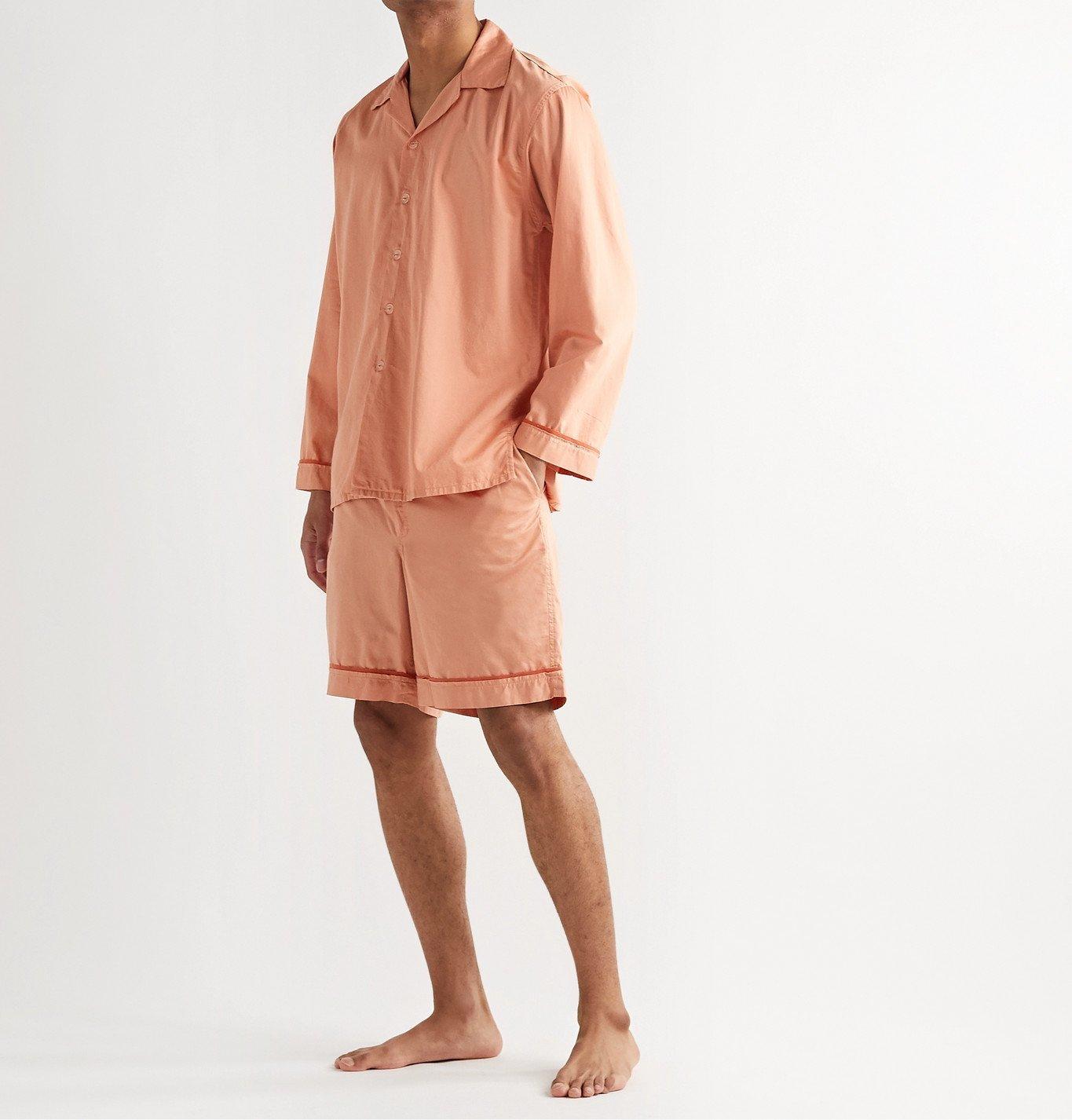 Cleverly Laundry - Piped Garment-Dyed Washed-Cotton Pyjama Shorts - Orange