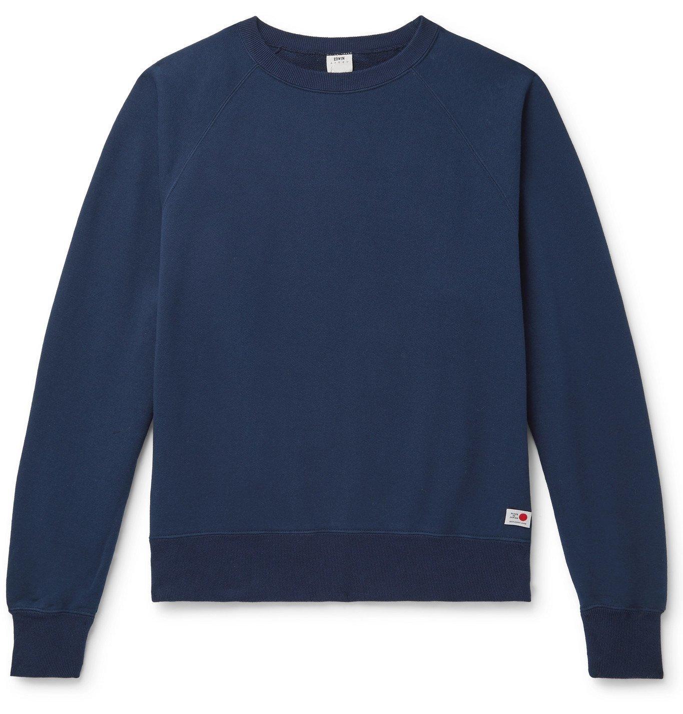 Photo: EDWIN - Loopback Cotton-Jersey Sweatshirt - Blue