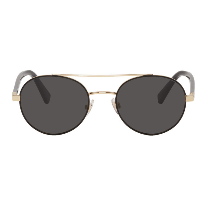 Photo: Dolce and Gabbana Gold Metal Round Sunglasses