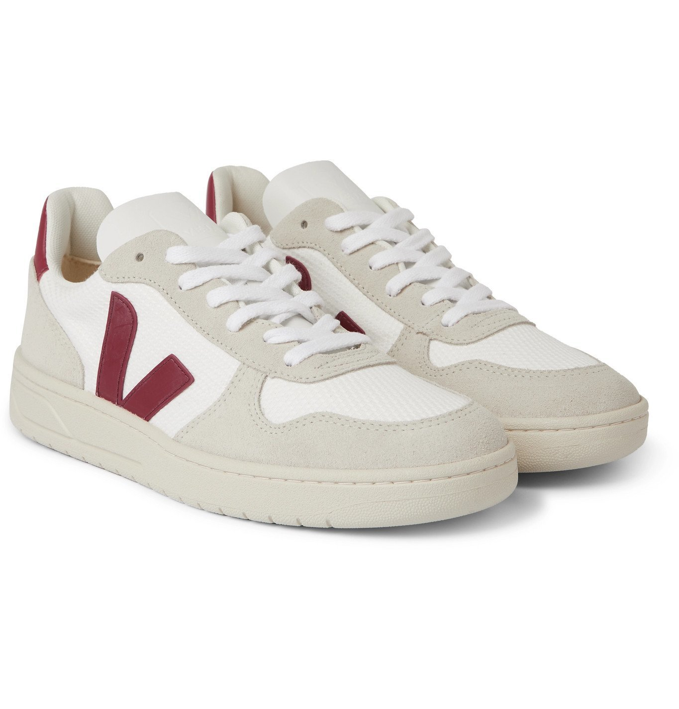 Veja - V-10 Leather and Rubber-Trimmed Suede and B-Mesh Sneakers - White