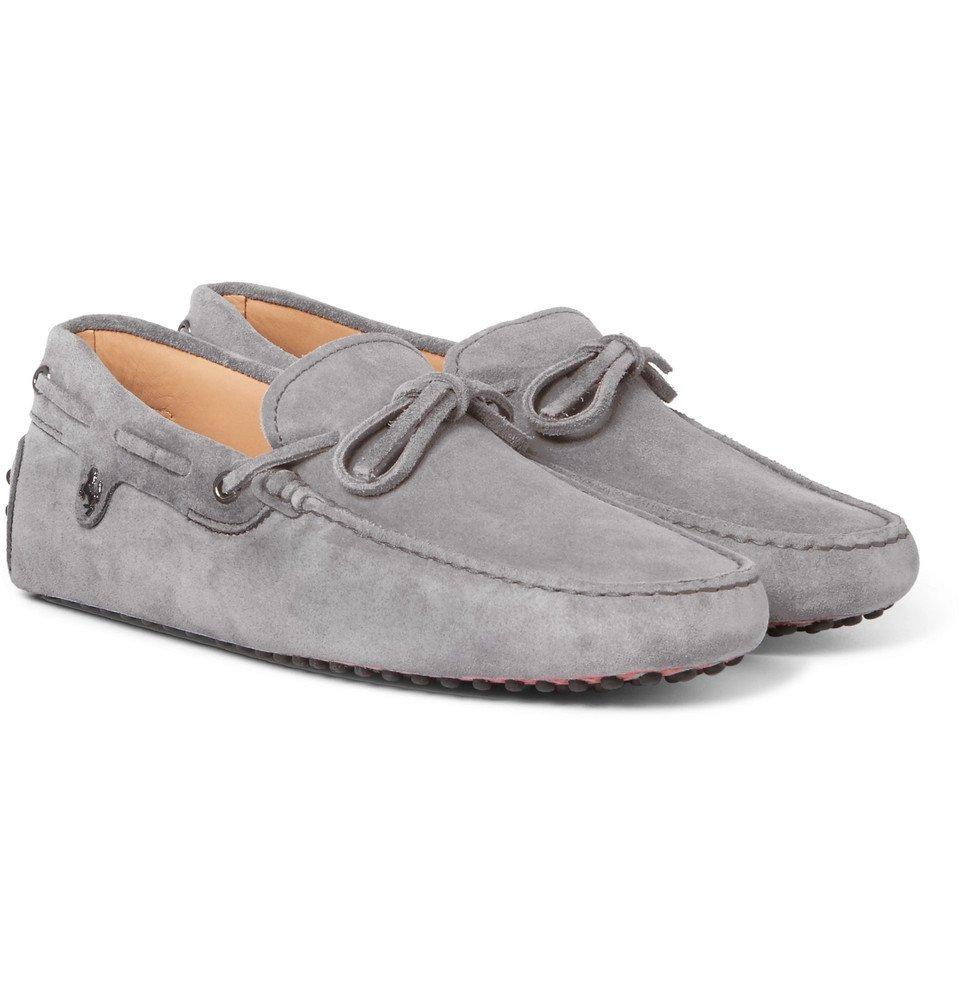 Tod's - Ferrari Gommino Suede Driving Shoes - Men - Gray