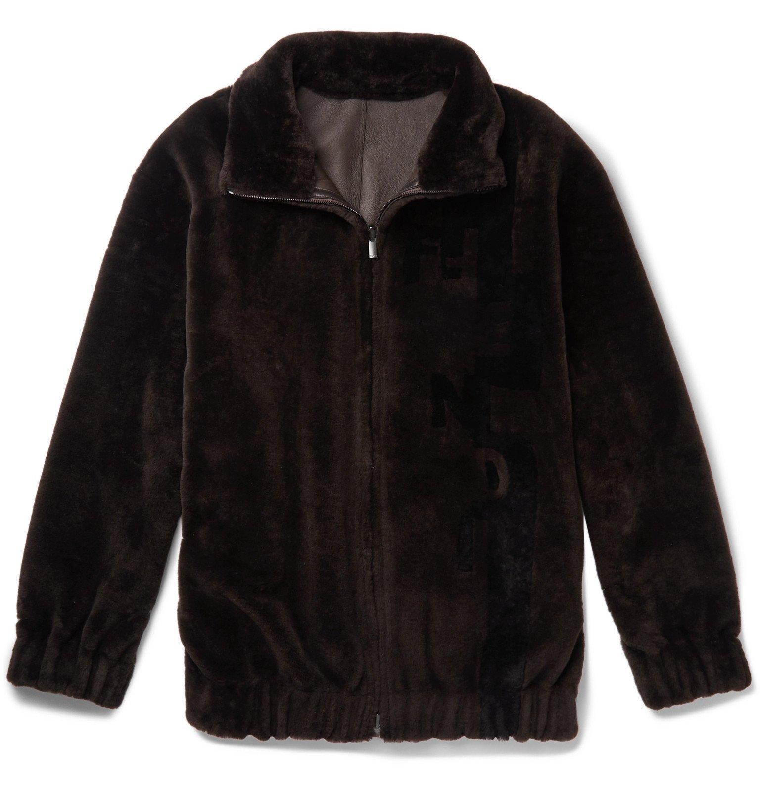 Photo: Fendi - Logo-Intarsia Shearling Bomber Jacket - Brown