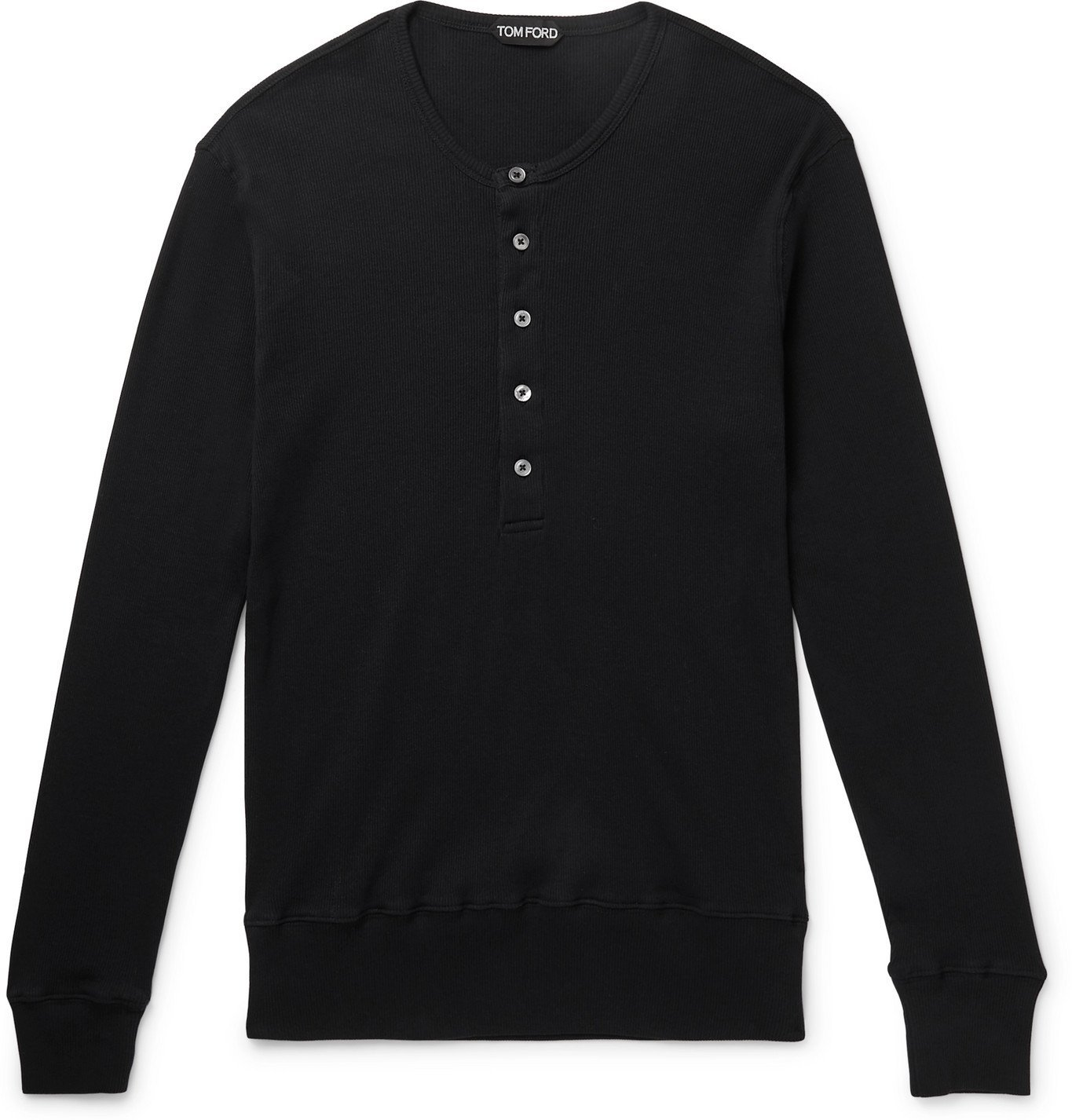 Photo: TOM FORD - Slim-Fit Ribbed Cotton-Jersey Henley T-Shirt - Black