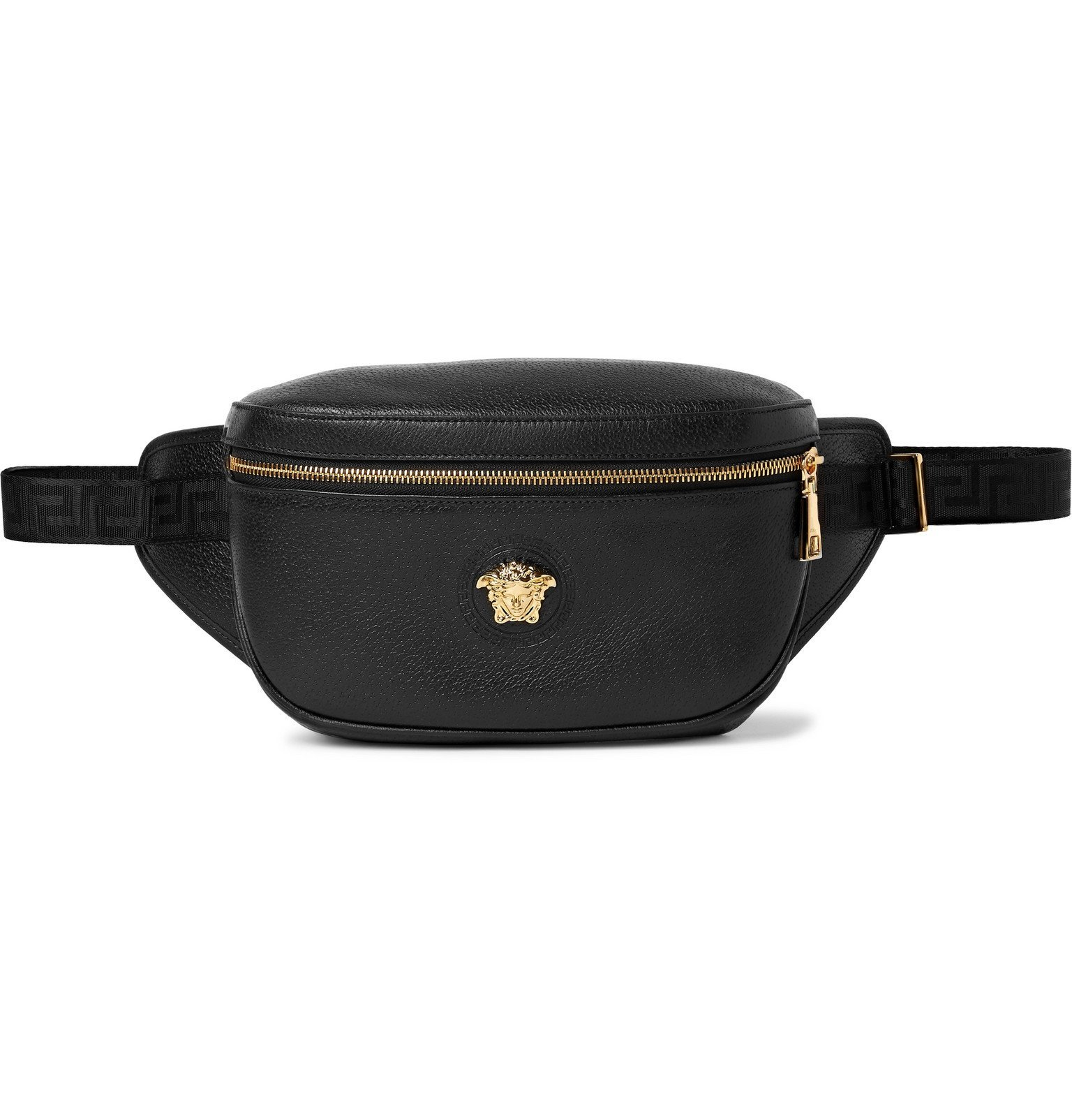 Versace - Logo-Embellished Textured-Leather Belt Bag - Black