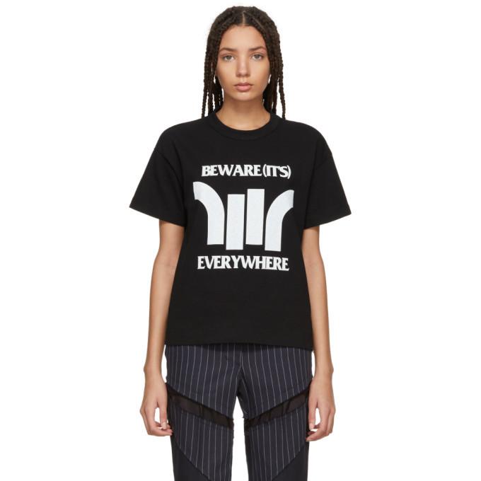 Sacai Black Beware Zip T-Shirt