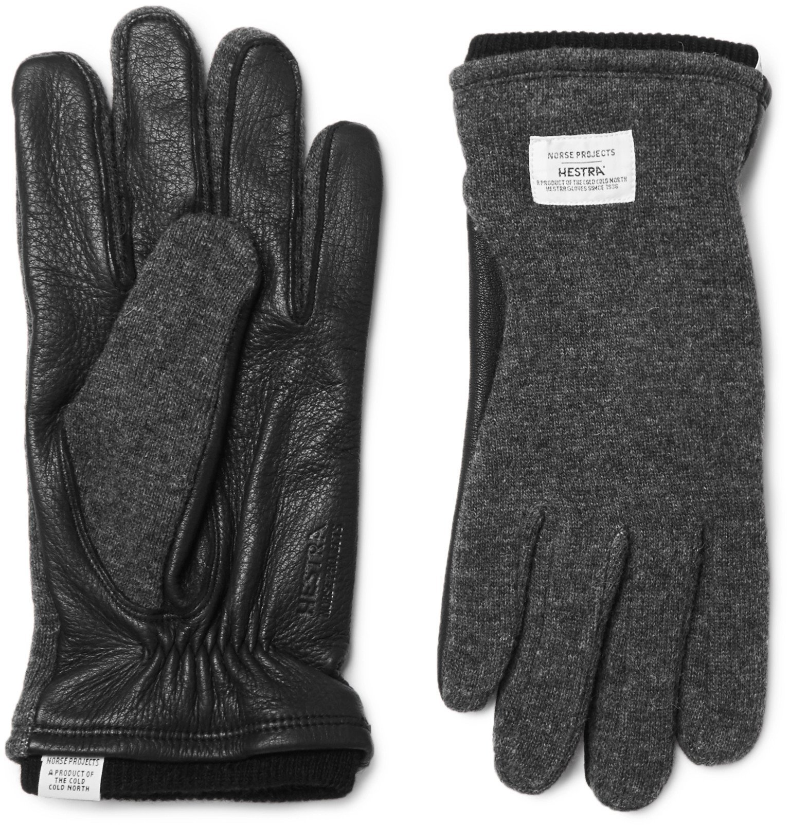 Photo: Norse Projects - Hestra Svante Leather and Knitted Gloves - Gray